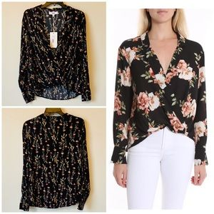 NWT 🎁 LIKELY Black Floral Wrap MIMI TOP